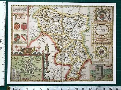 "Old Antique Tudor map Derbyshire, England: John Speed 1600's 15"" x 11 (Reprint)"