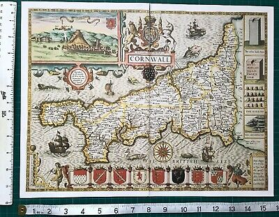 "Old Antique Tudor map of Cornwall, England: John Speed 1600's 15"" x 11 (Reprint)"