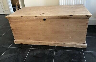 Beautiful Victorian Vintage Old Pine Chest  Wooden Trunk  Blanket Box