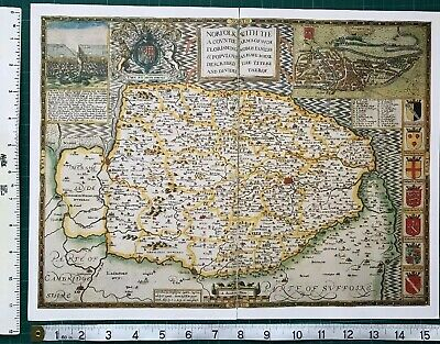 "Old Antique Tudor map of Norfolk, England: John Speed 1600's 15"" x 11 (Reprint)"