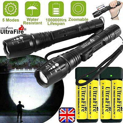 350000LM Zoom CREE T6 LED Rechargeable Torch Flashlight Work Light Headlamp Camp