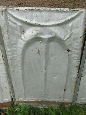 4 Antique Metal Tin  Ceiling Tiles - Gothic Industrial Architectural Salvage