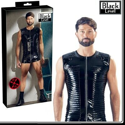 Sexy Camicia Uomo in vinile nero Biker Black Level Fetish Lingerie Bondage Bdsm