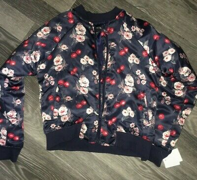 Kids Girls Bomber Jacket Age 6 Years Joes New Tags Navy Padded Floral Zips