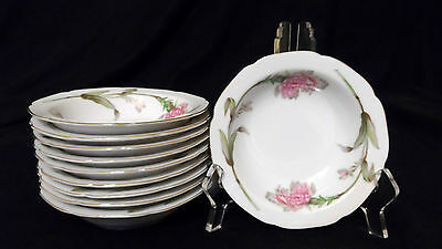 Set of 10 Vtg Aladdin Floralton Berry Bowls Made in Occupied Japan - Mint Cond.