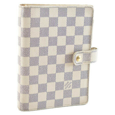 LOUIS VUITTON Damier Azur Agenda MM Day Planner Cover R20707 LV Auth sa2181