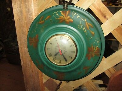 1950s Sessions Metal Electric Wall Clock Toleware Green and Gold Vines