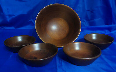 Vtg DOLLYWOOD GENUINE MAHOGANY 5 Piece Wooden Salad Bowl Set