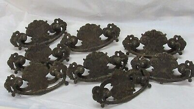 Lot 8 Antique Ornate Furniture Drawer Pulls Solid Brass Victorian Eastlake