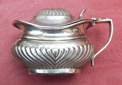 antique queen anne stylesolid silver mustard pot with blue glass liner