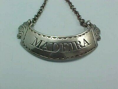 """SCOTTISH STERLING SILVER WINE LABEL """"MADEIRA"""" BY ROBERT GRAY OF GLASGOW c.1795"""