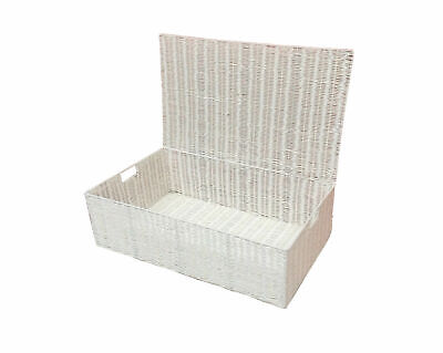 Underbed Chest Storage Basket with Lid White Resin Large Pack 2