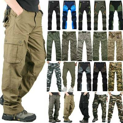 Men's Multi Pockets Cargo Pants Military Army Combat Casual Hiking Work Trousers