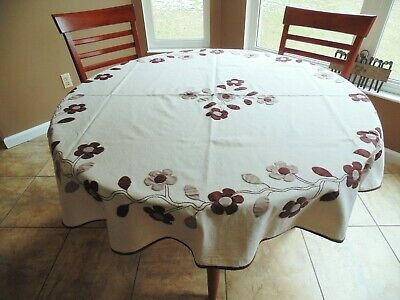 darling appliqued and embroidered  fall flowered tablecloth, free shipping