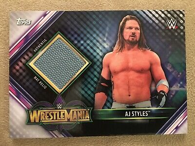 2019 WWE Topps Champions AJ Styles Authentic RING MAT RELIC Wrestlemania MR-AJ