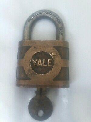 Antique Vintage Super Pin Tumble Heavy Yale Brass Lock With Working Key