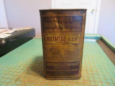 Antique SB Penick & Co. Initial Line Botanical Drugs NUTMEG Powder Can Container