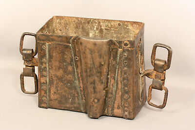 Antique Industrial Riveted Copper Bucket