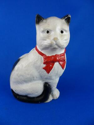 Cast Iron CAT Still BANK-Paperweight-John Wright, Black Tips, Red Bow