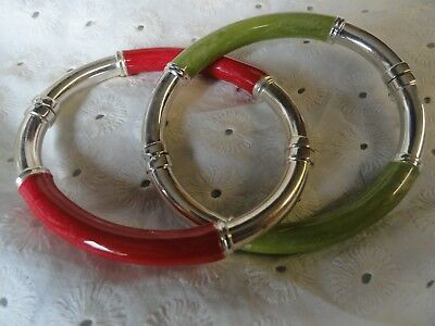 Vintage Milor Italy 925 Sterling Silver 2 Enamel Hinged Bangle Bracelets Red And