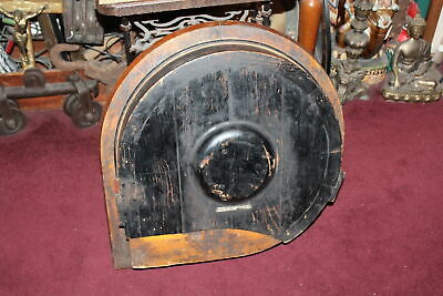 LARGE Antique Industrial Mold Wood Railroad Train Part Cylinder Gear Guard