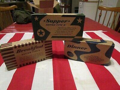 WW2 US Army USMC Reproduction K Rations lot of 3 dinner supper breakfast wwii