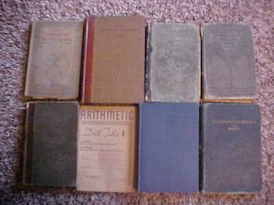 Lot 8 Antique Vintage 1800s Old School Books Arithmetic English Algebra  decor