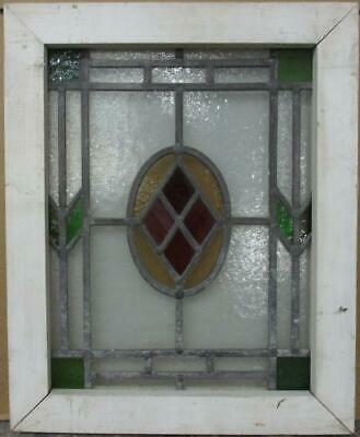 "OLD ENGLISH LEADED STAINED GLASS WINDOW Nice Bordered Geometric 15.25"" x 18.75"""