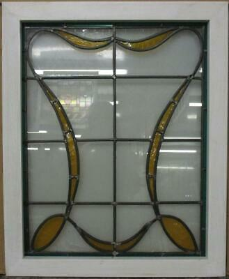 "MIDSIZE OLD ENGLISH LEADED STAINED GLASS WINDOW Bordered Ribbon 21.5"" x 26.25"""