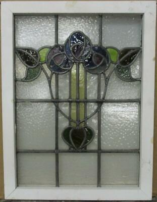 "MIDSIZE OLD ENGLISH LEADED STAINED GLASS WINDOW Stunning Floral 19"" x 25.25"""