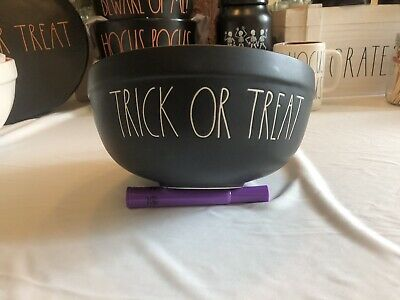 Rae Dunn TRICK OR TREAT Black Ceramic Bowl LL Large Letter Halloween