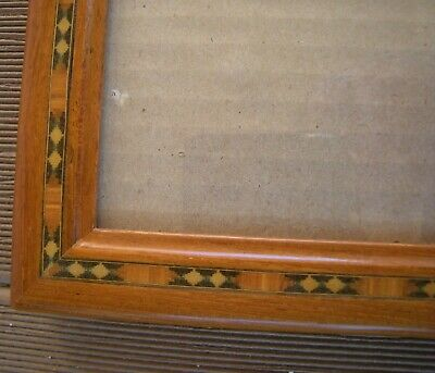 Antique Victorian Inlaid Wood Arts And Crafts Picture Frame 4X6 Window W Glass
