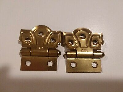 Vintage Stanley Dull Brass Plated BUTTERFLY Cabinet Hinges Flush Mount USA NOS
