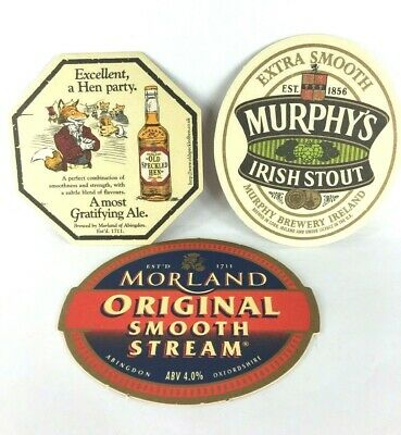Beer Coasters Murphy's Irish Stout Morland Old Speckled Hen Party Smooth Stream
