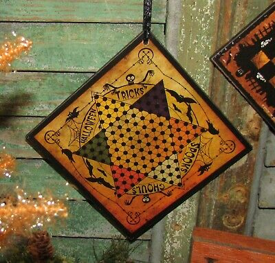 Prim Antique Vtg Style Spooks Ghouls Halloween Chines Checkers Game Board Sign
