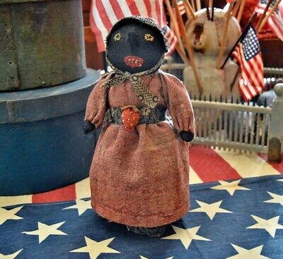 Handmade Heirloom Quality Folk Art Primitive Black Bottle Doll