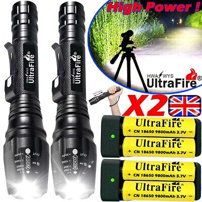 UK 350000LM Zoom CREE T6 LED Rechargeable Torch Flashlight Work Light Headlamp