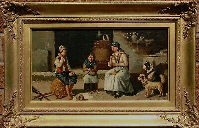 Early19th Century Italian School Antique Oil Painting The Family in the Kitchen