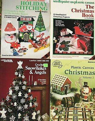 Plastic Canvas Pattern Books Tissues Home Travel Holiday Christmas Lot of 36+