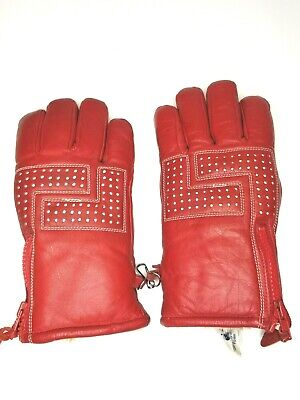 Vtg 70's early 80's Contender Red Cowhide Leather Sherpa Lined Med. Ski Gloves
