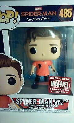 Funko Pop Far From Home Spider-Man Borrowed Jersey Collector Corps Exclusive New