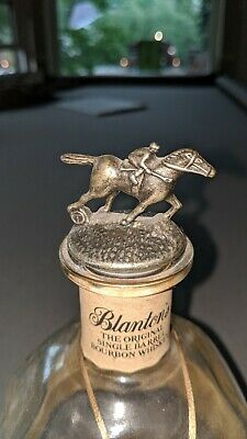 Blanton's Bourbon Horse Cork Stopper Letter T with empty bottle and tags.