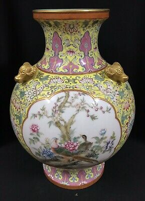Qing dynasty : Qianlong vase handrawn birds chinese antique porcelain