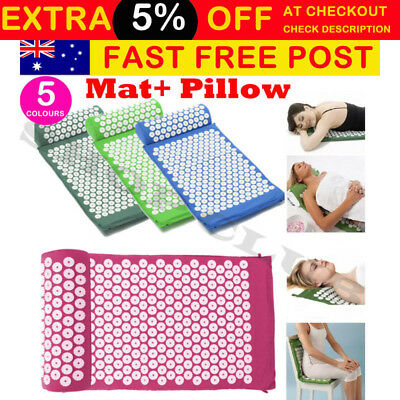 Massage Acupressure Yoga Mat With Pillow Sit Lying Mats Cut Pain Stress uo