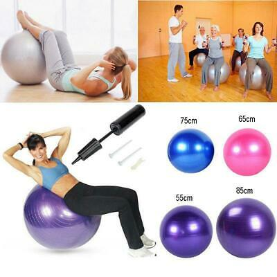 55 65 75 85cm Yoga Ball w Air Pump Anti Burst Exercise Balance Workout Stability
