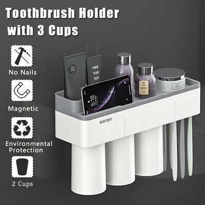 Grey Magnetic Toothbrush Holder Toothpaste Dispenser Bathroom Storage 2/3 Cups