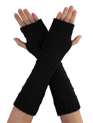 Unisex Thumbhole Fingerless Cable Knit Knitted Gloves Black 1 Pair