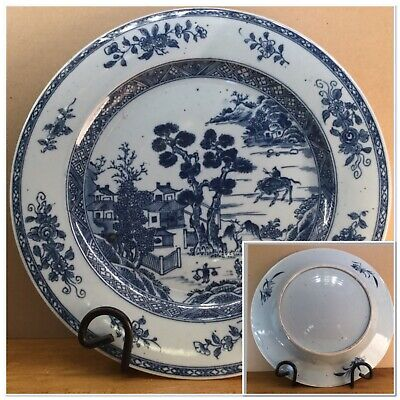 LARGE ANTIQUE CHINESE PORCELAIN BLUE & WHITE PLATE 29.2cm Buffalo Village Scene