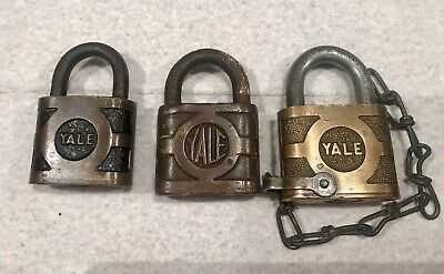 (3)Vintage Antique Yale And Towne Padlock's Lock No Key Made In Usa