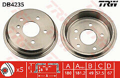 A-class w168 A140 A160 A190 A160 A170 CDi  98-05 Rear Brake Drums 180mm